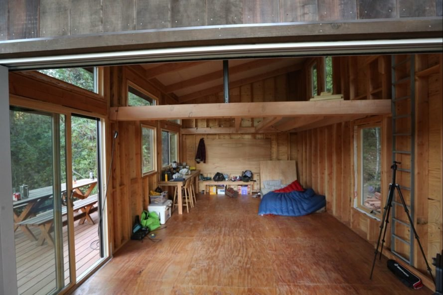 interior of wooden cabin