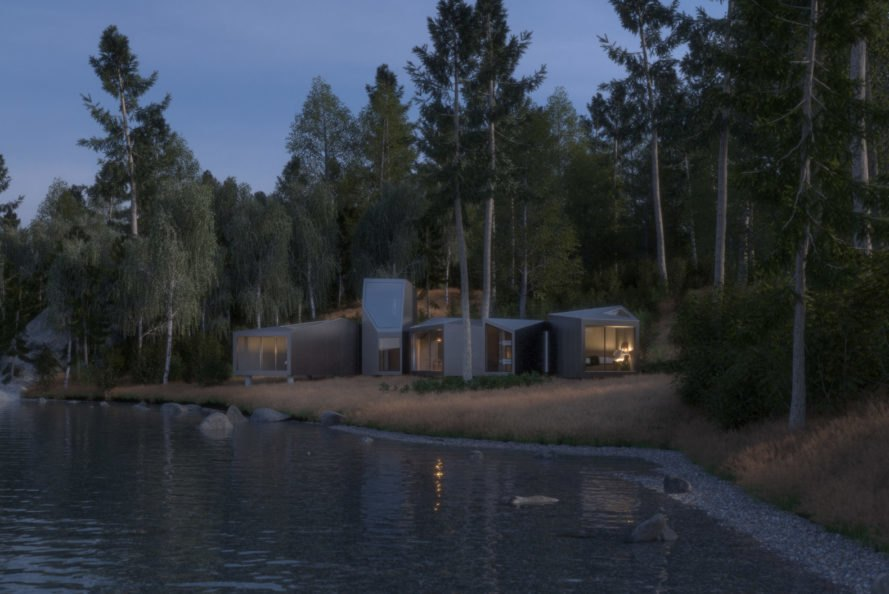 lakeside structure made of prefabricated modular units