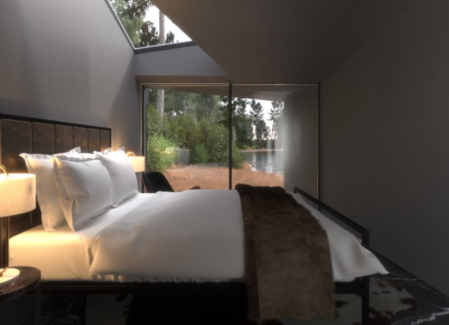 bedroom with large sliding glass doors