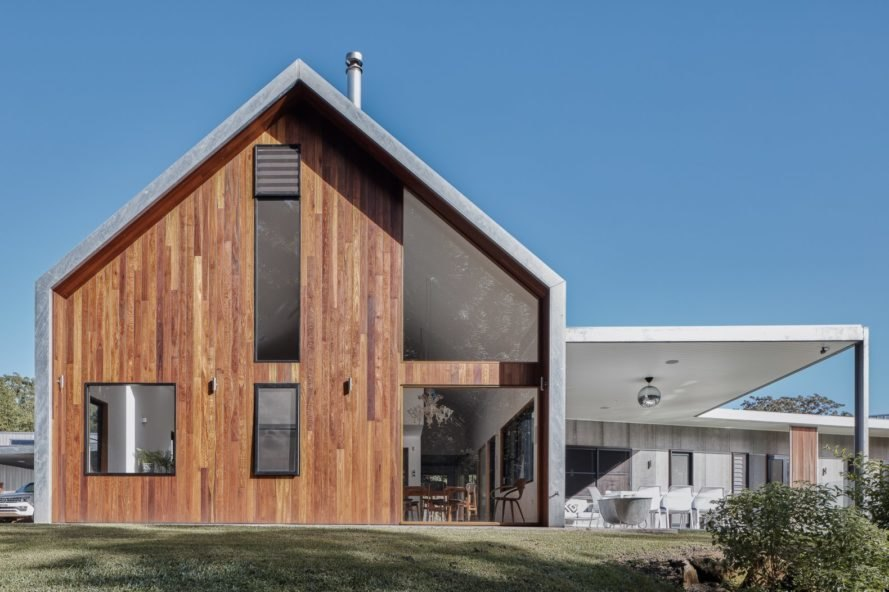 a wooden barn like builing with galvanized steel roofing