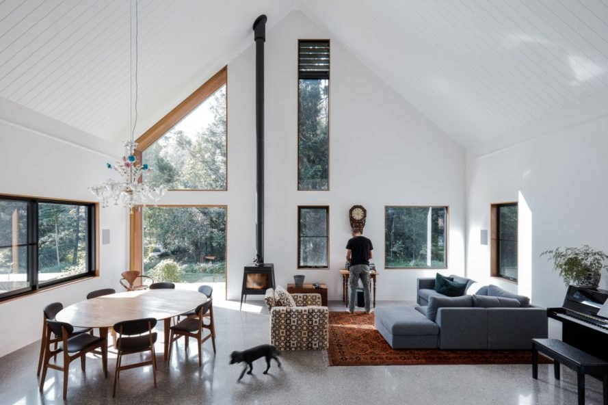 large living room with gabled ceiling