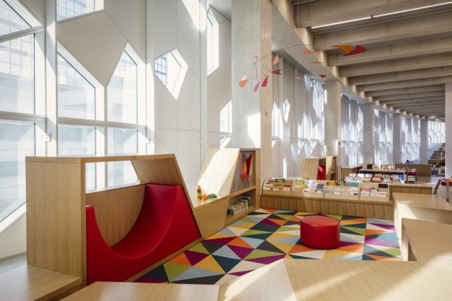 colorful playroom in a library