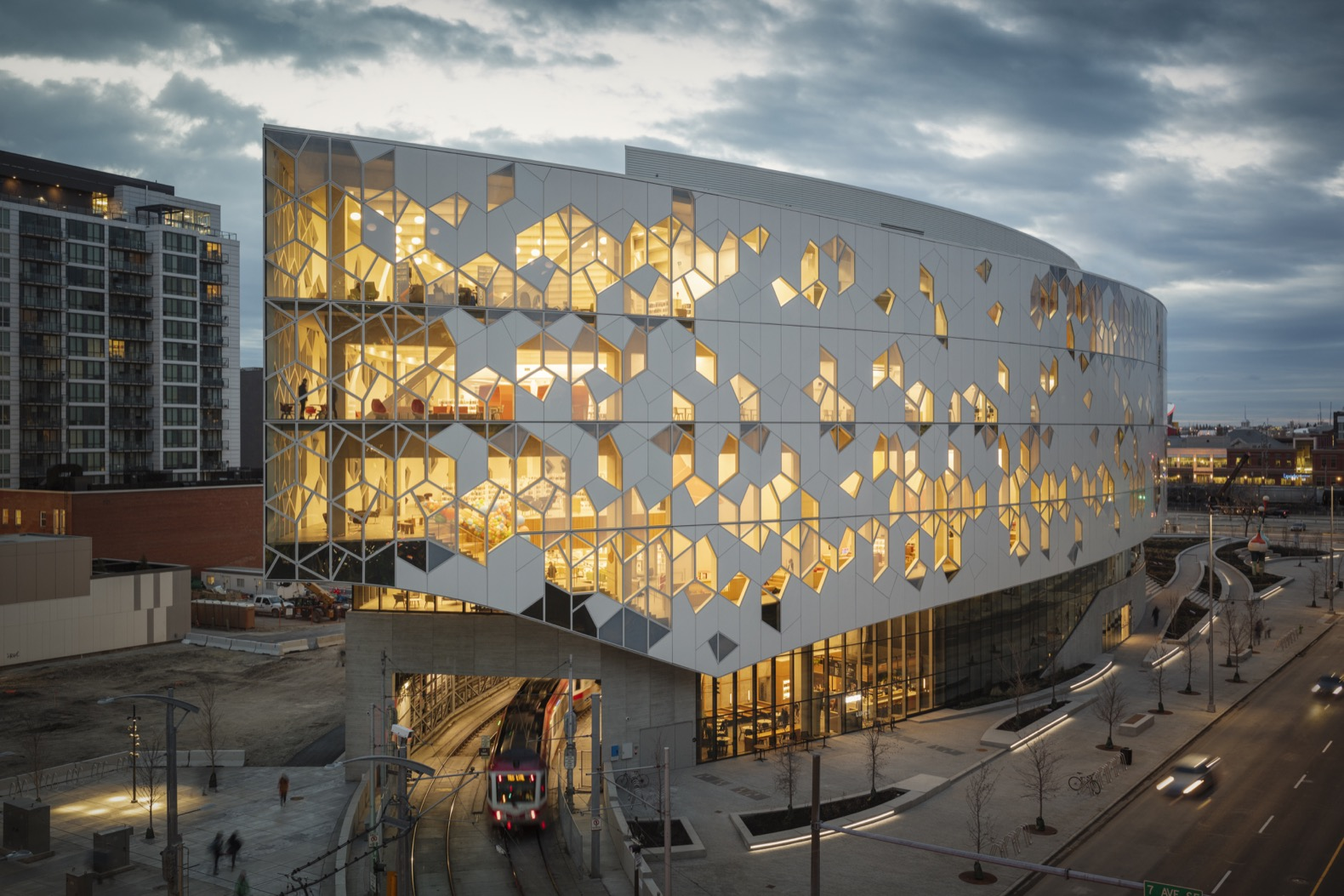 Calgary Central Library is wrapped in a striking, snowflake-like facade