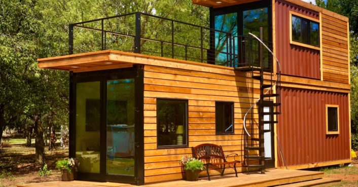 This tiny home with a rooftop deck is made from two shipping