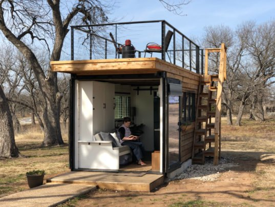 Tiny Home Designs: This Tiny Home With A Rooftop Deck Is Made From Two