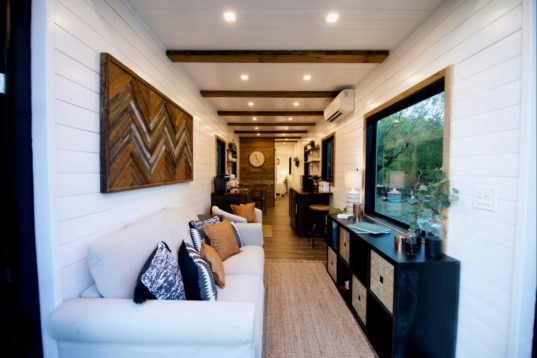 This tiny home with a rooftop deck is made from two - Shipping container homes pictures ...