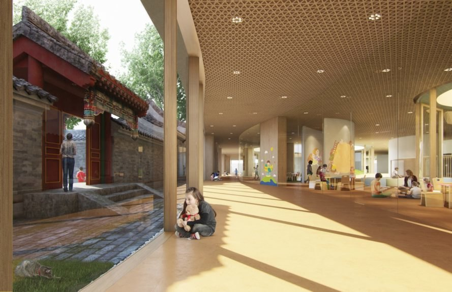 rendering of children playing inside tan school building with glass walls