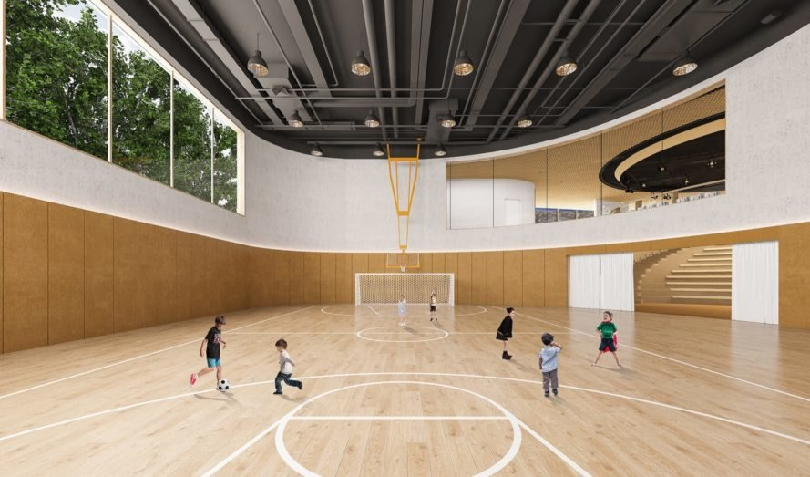 rendering of spacious gymnasium lined in wood