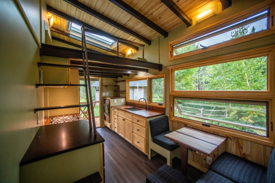 wood clad interior of tiny home