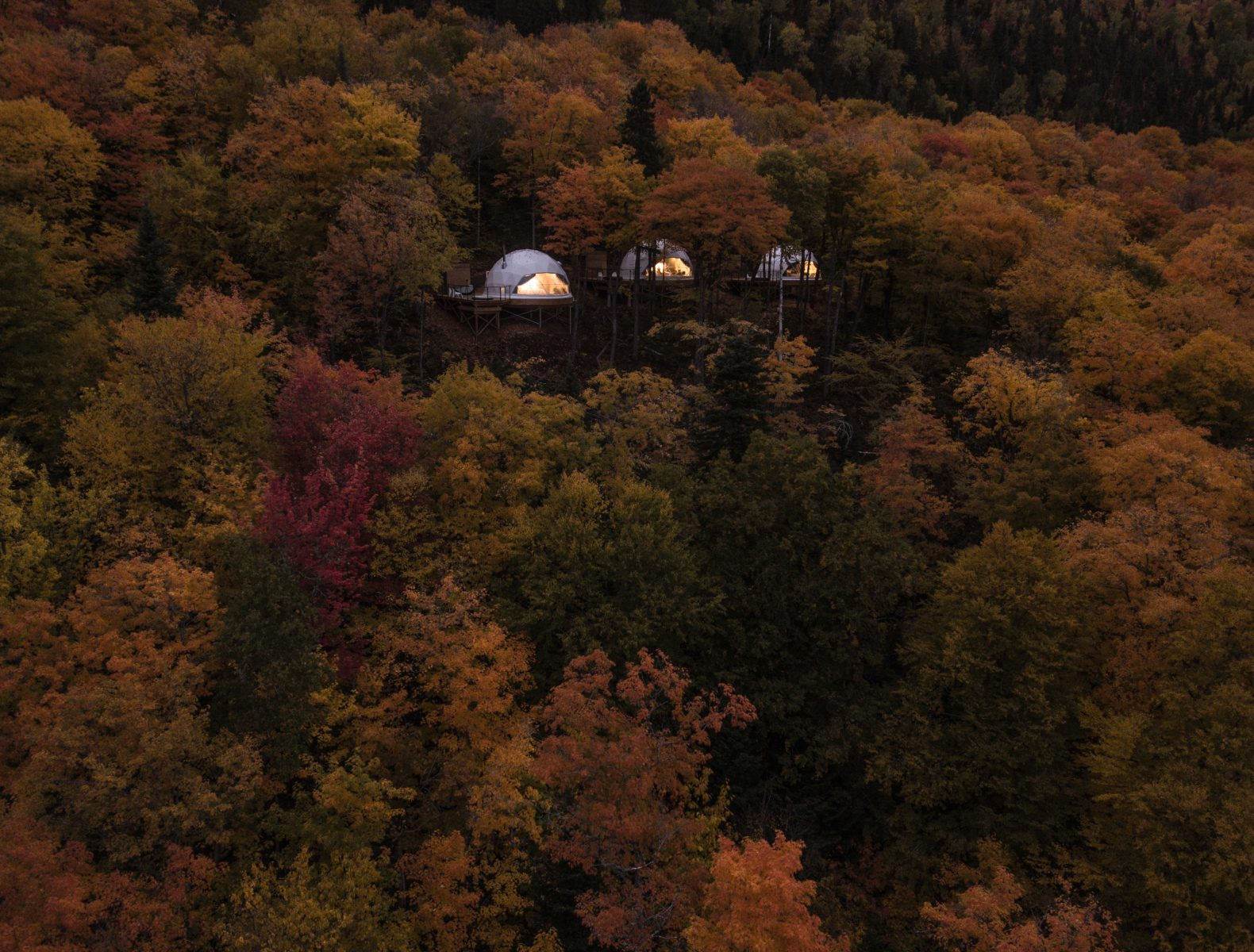 Eco-friendly geodomes provide a luxurious stay in an idyllic Quebec