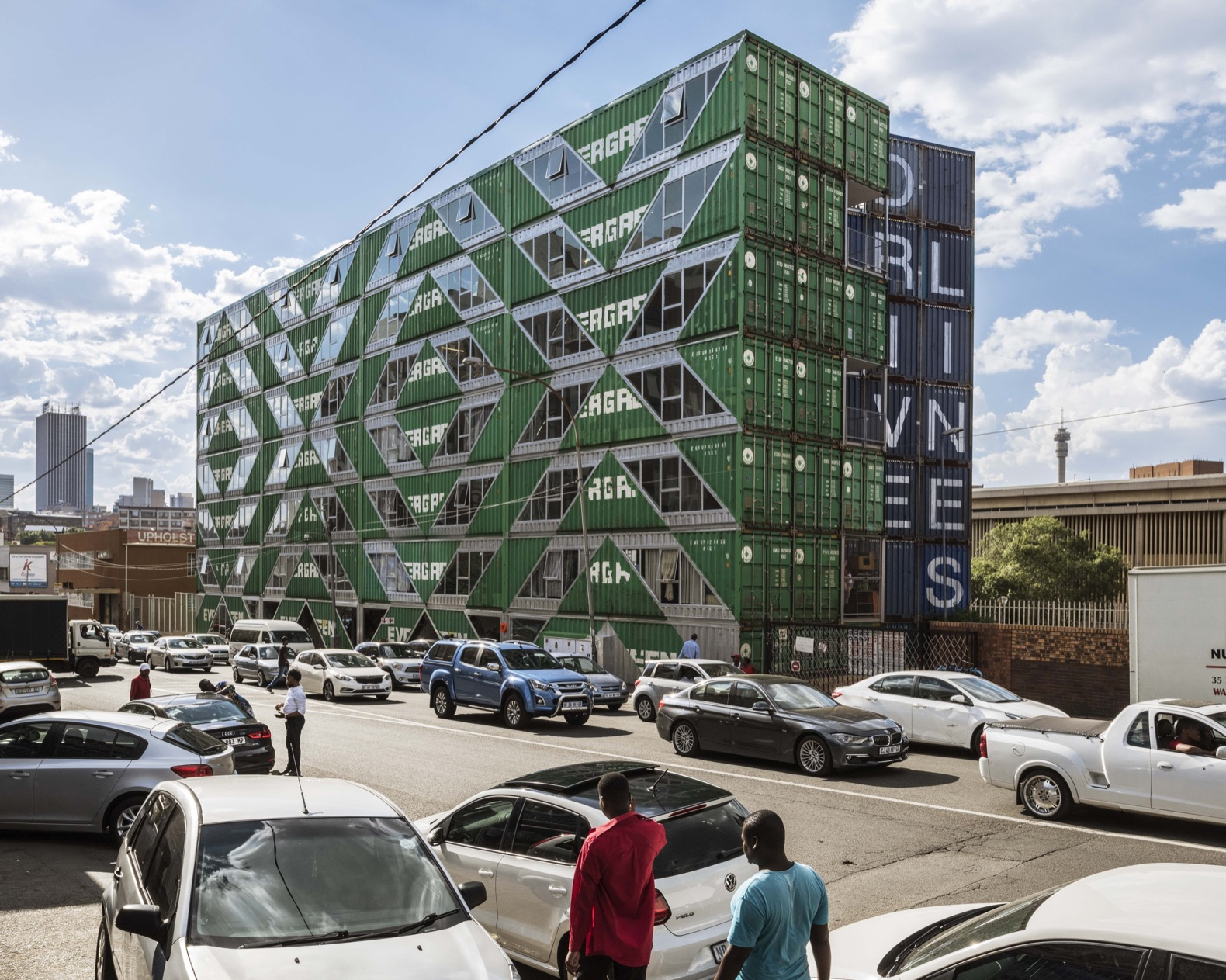 LOT-EK upcycles 140 shipping containers into an apartment complex in South Africa