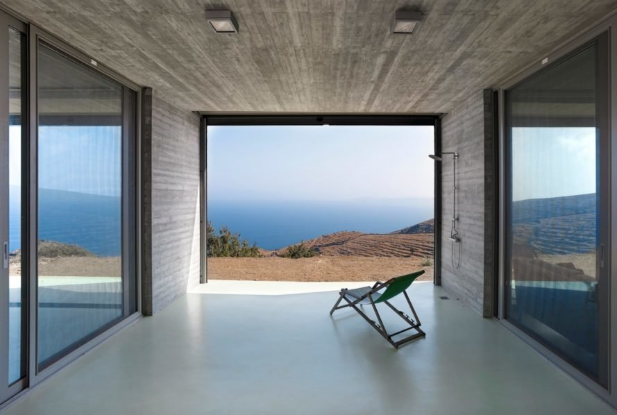 living space with large opening facing the sea