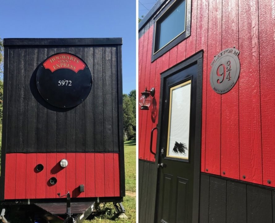 red and black tiny home on wheels