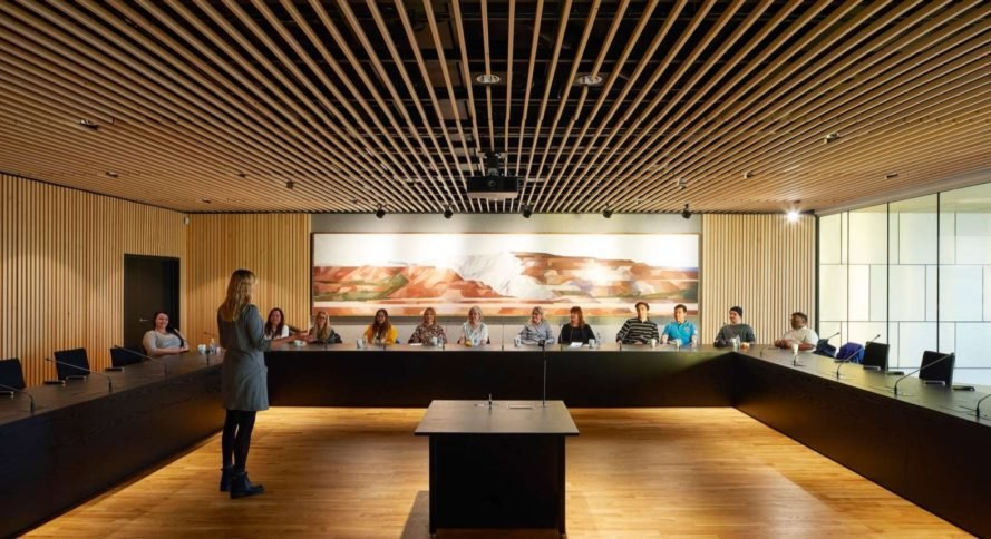 people sitting at long table in meeting room