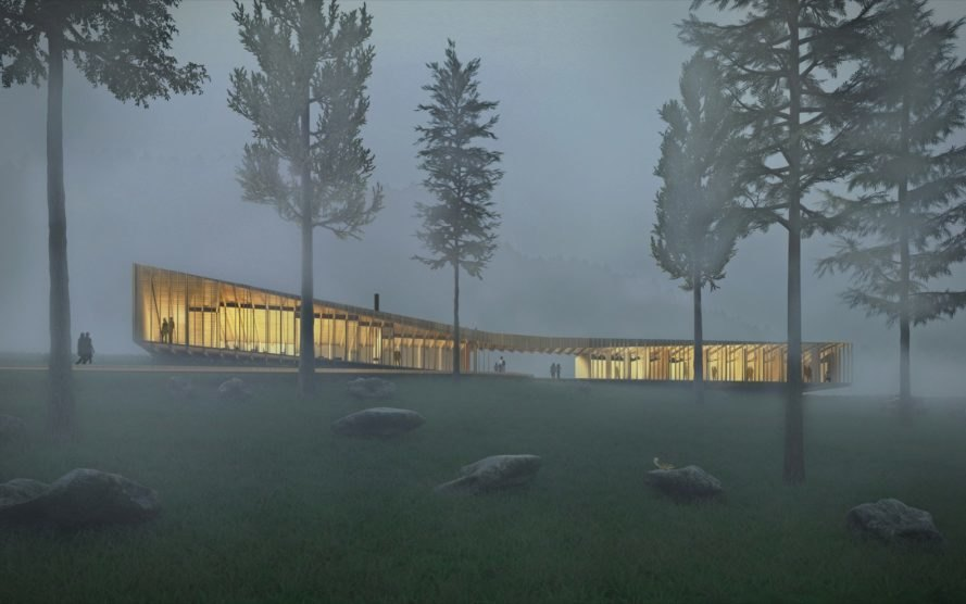rendering of long timber cabin