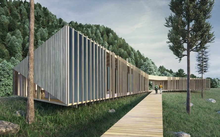 rendering of long timber cabin in the woods