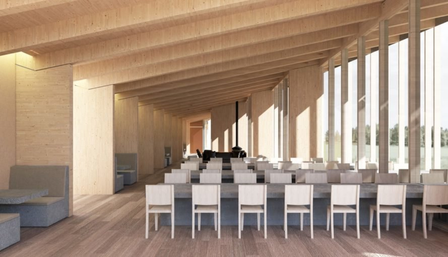 rendering of restaurant with wood walls and floors and gray benches and tables
