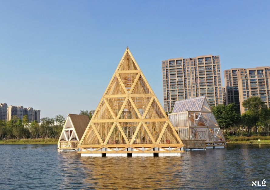 wood triangular structures on water