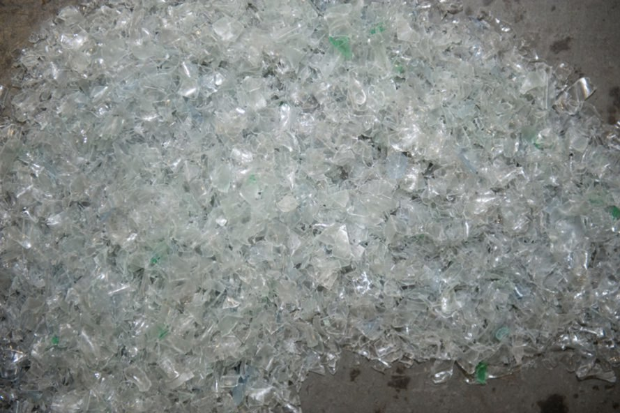 Chips of broken down plastic bottles