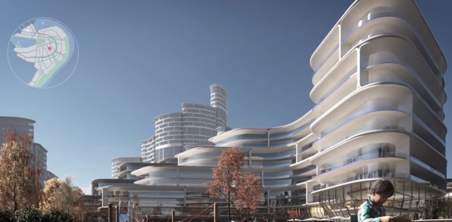 rendering of curved white walls of a building