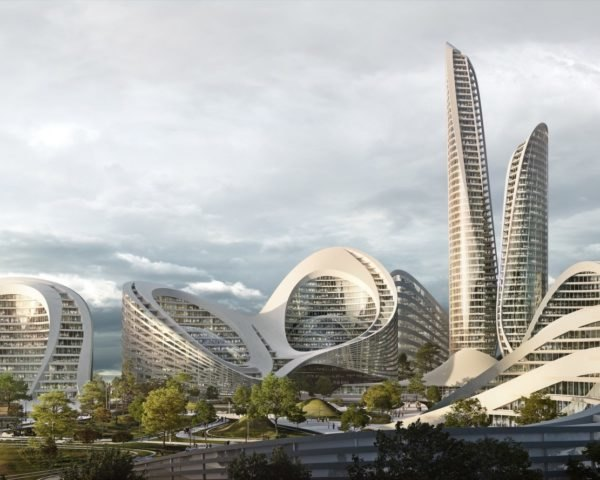 rendering of skyline with curvy white buildings