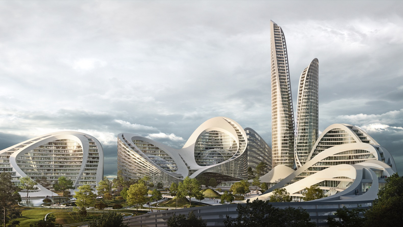 """Zaha Hadid unveils futuristic designs for """"New Moscow"""""""