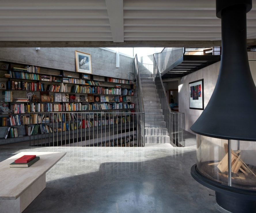personal library with walls of book shelves