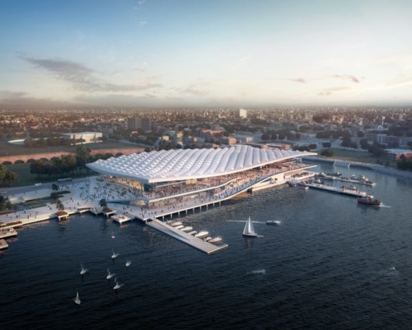 aerial rendering of waterfront market with white, wavy roof