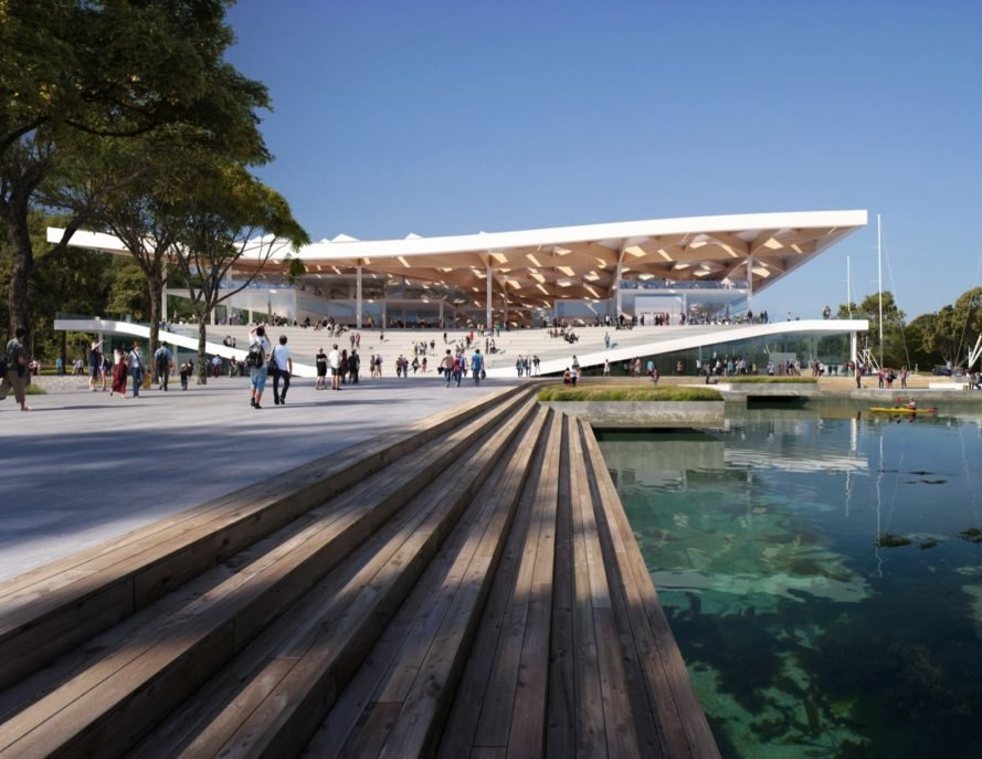 rendering of waterfront fish market with white, wavy roof
