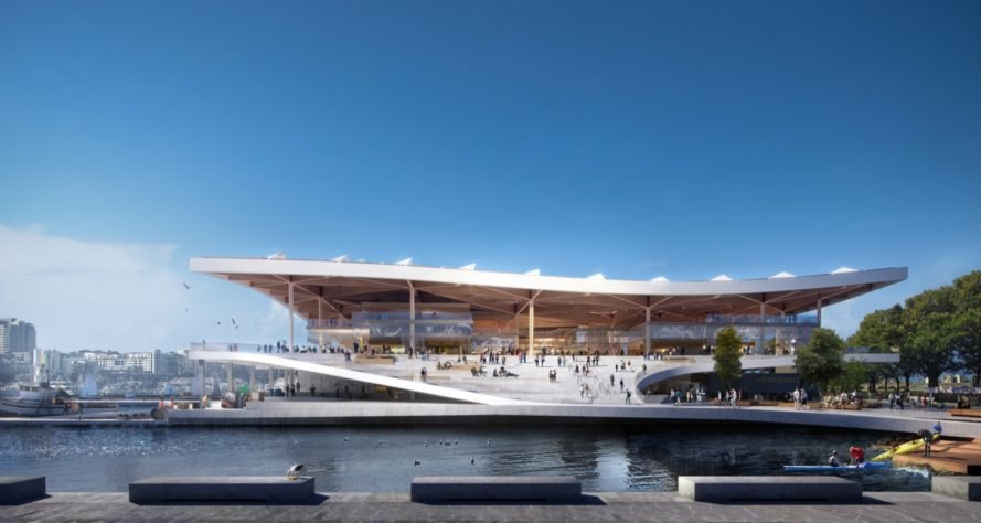 rendering of front view of fish market with wavy roof