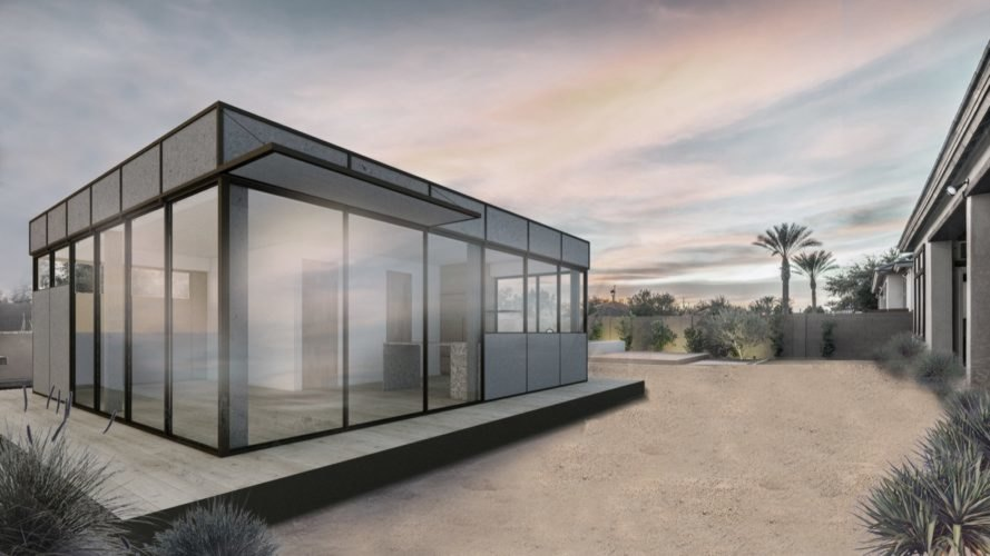 rendering of cube-like home with glass walls
