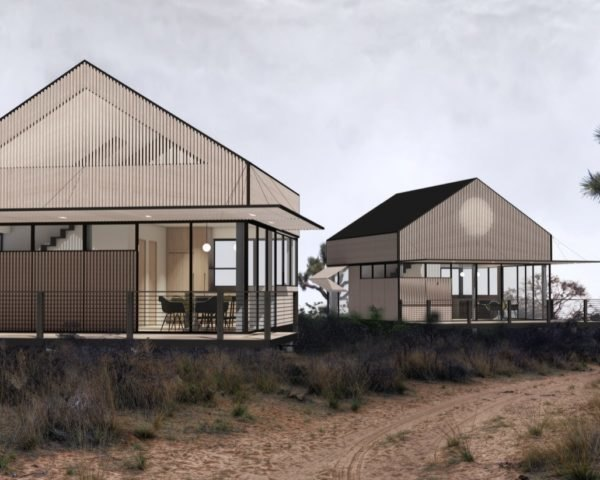 rendering of small wood homes with gabled roofs