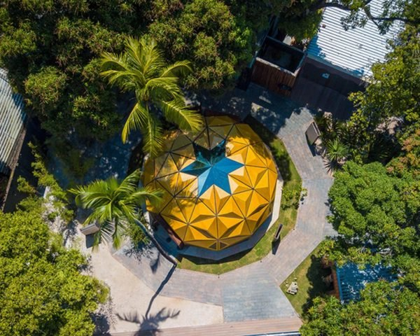 aerial view of yellow geometric dome