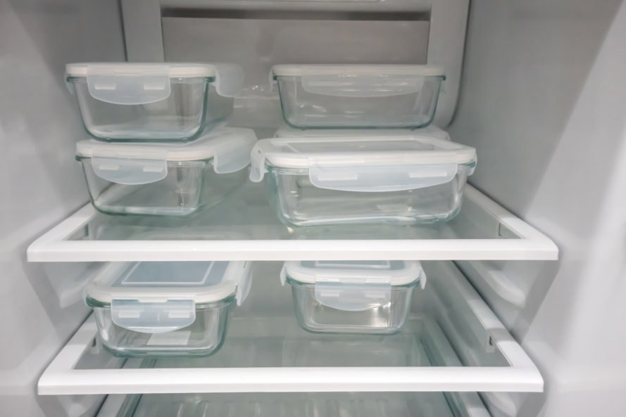 glass storage containers in a fridge