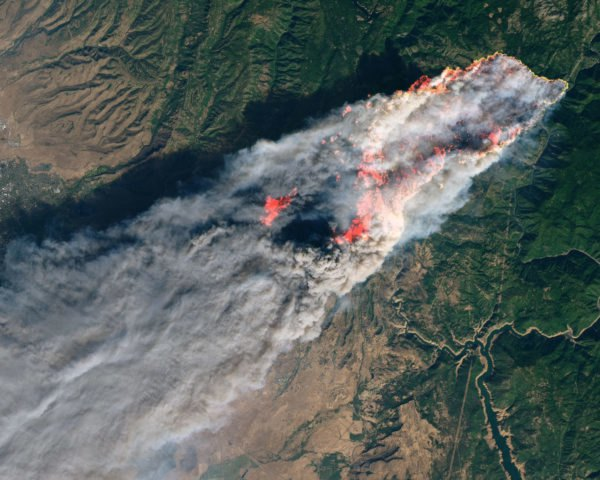 satellite image of wildfire in Northern California