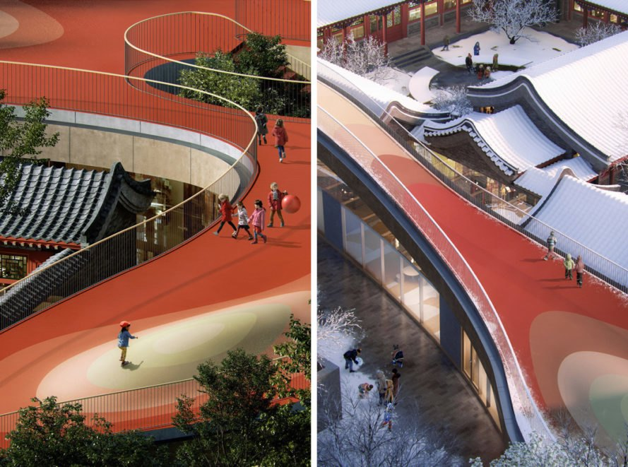 aerial rendering of kids playing on a curvy red roof terrace
