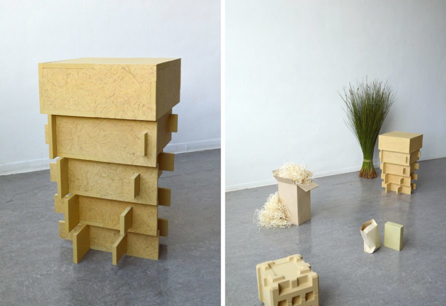 stacked boxes made from soft rush pith