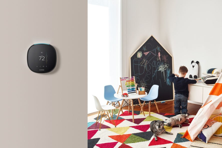 smart thermostat on wall near child's playroom