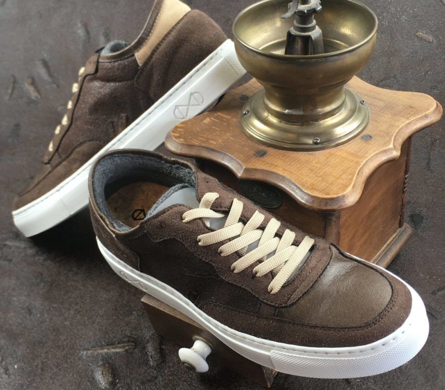 two brown vegan leather sneakers