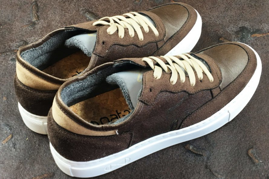 top view of two brown vegan leather sneakers