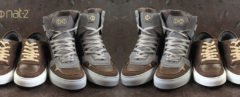 mirrored image of brown vegan leather high-top and regular sneakers