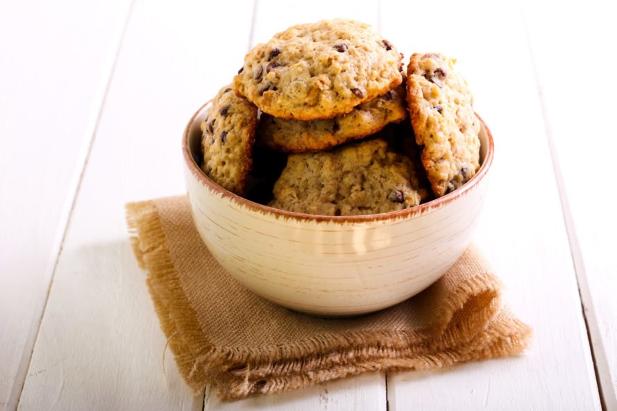 oatmeal chocolate chip cookies in a bowl