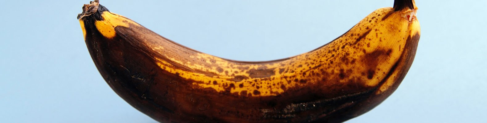 brown spotted banana on blue background