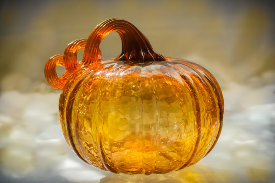 orange, glass pumpkin
