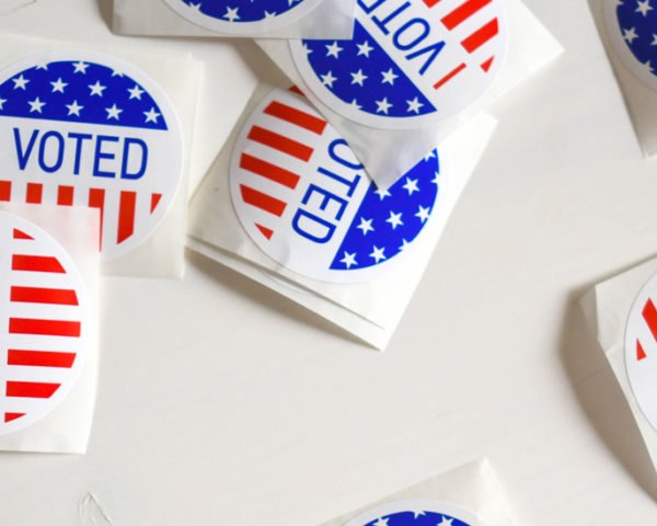 voting stickers on white background
