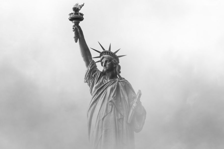 Statue of Liberty surrounded by thick fog