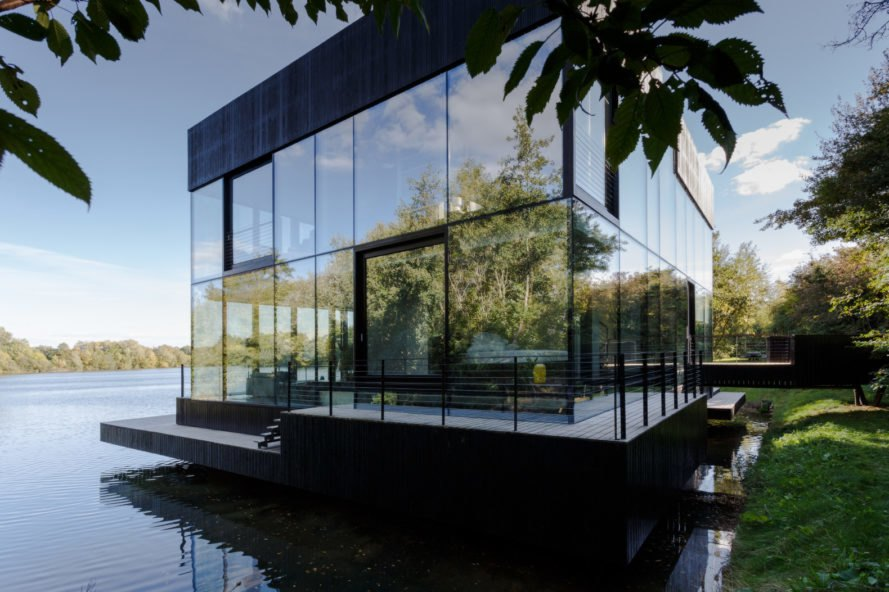 glass cube-like home on water