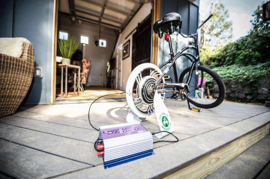 a bike charging on outdoor deck