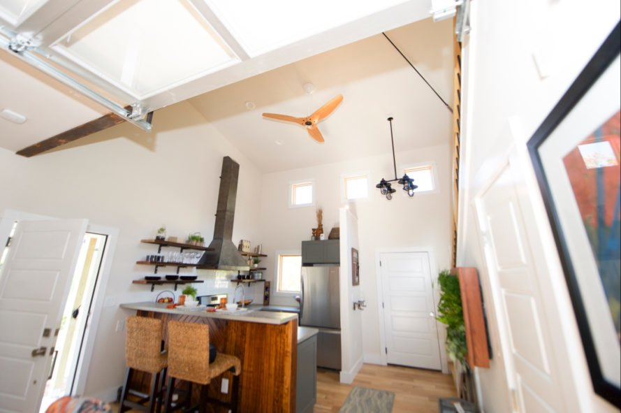 kitchen space with ceiling fan