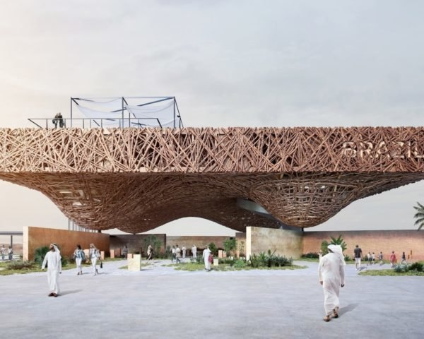 rendering of pavilion made from tree branches